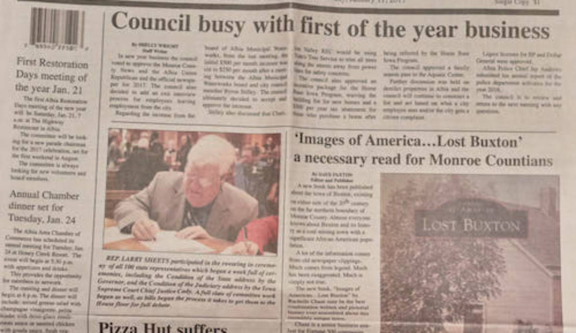 LOST BUXTON Made the Front Page of the Albia Union-Republican